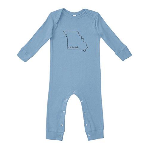 Cute Rascals Raised Missourian Missouri State Cotton Long Sleeve Envelope Neck Unisex Baby Legged Long Rib Coverall Bodysuit - Light Blue, Newborn (Missouri Light)