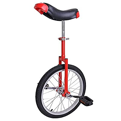 Pro Red 18-inch Wheel Rim Unicycle w/ Comfy Saddle Seat Steel Fork Frame Rubber Tire for Adult Cycling Bike Balance Ride Road Mountain Practice Recreational