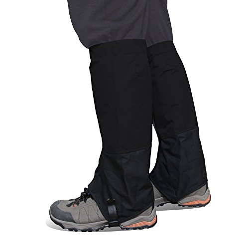 Play Tailor 1 Pair Waterproof Gaiters Footwear for Walking Hiking Running Hunting Skiing, Durable TPU Strap and 500D Nylon Material (Black, L) (Gaiters Footwear)