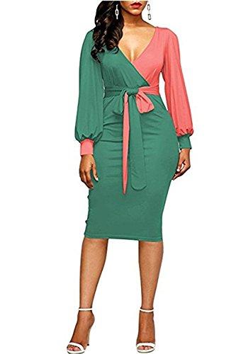 Ailixi Womens Bodycon Dresses Long Sleeve Colorblock Business Dress (XX-Large, Blue-Orange) by Ailixi