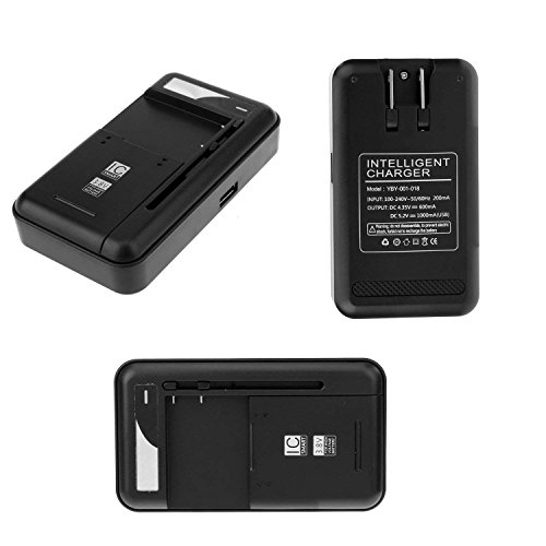 Sfmn Compatible/Replacement for Universal Battery Charger with USB Output Port for 3.8V High-Voltage Battery for Samsung Galaxy S5 S2 S3 S4 J5, Note 4 3 2, Edge, LG Optimus G4 G3 G2 (Black) (Universal Wall Charger Battery)