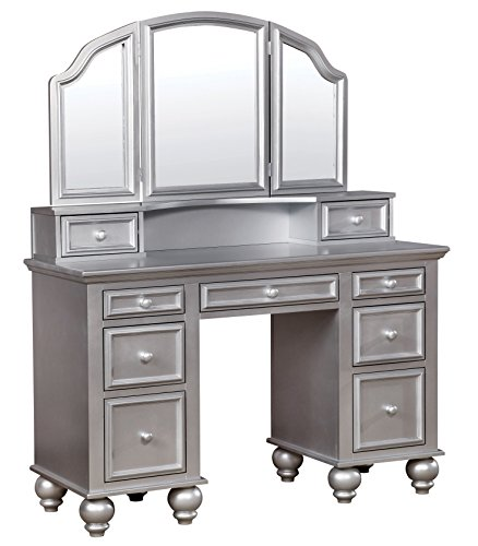 HOMES: Inside + Out IDF-DK6848SV Garnet Transitional Vanity Table with Stool, Silver