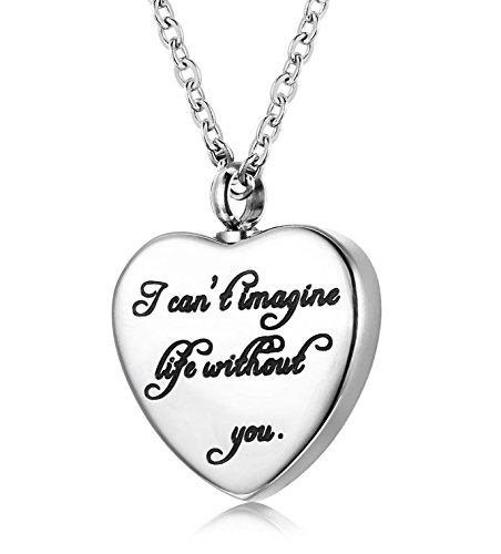 - Udalyn Cremation Necklace Keepsake Memorial Pendant Heart Shaped Urn Chain for Parents Friends Lovers