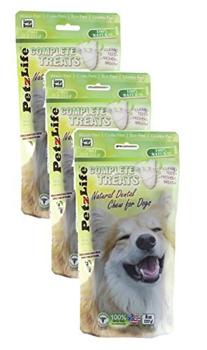 3 Pack! PetzLife Complete Treats: Natural Dental Chews for Dogs, 8 oz (Large Breed)