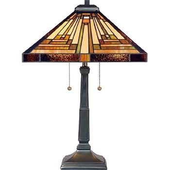 Delightful Quoizel TF885T Stephen 2 Light Tiffany Table Lamp, Vintage Bronze Finish