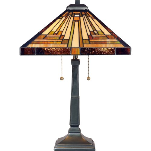Quoizel TF885T Stephen 2-Light Table Lamp, Vintage Bronze (Glass Quoizel Stained Chandelier)