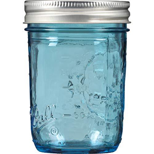 Ball Collection Elite Wide Mouth Half-Pint 8 Oz. Glass Mason Jars with Lids and Bands, 4 Count