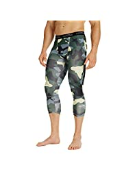 COOLOMG Compression Pants Running Tights 3/4 Tights Capri Pants Leggings 10+ Colors/Patterns Shorts Baselayer Available Quick Dry for Men Youth Boy