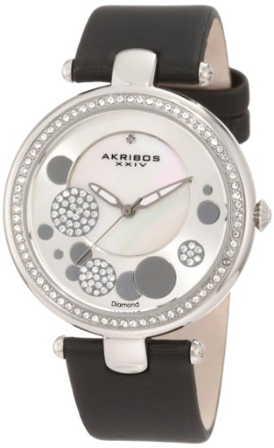Akribos XXIV Women's AKR434BK Diamond Silver Sunray Diamond Dial Quartz Strap Watch