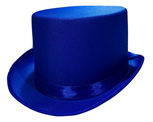 Tuxedo Silk Satin Costume Top Hat, Blue, One Size -