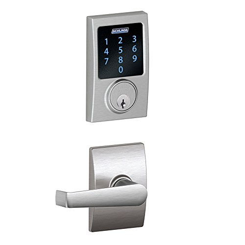 Schlage Connect Century Touchscreen Deadbolt with Built-In Alarm and Elan Passage Lever, Satin Chrome, FBE469NX ELA 626 CEN