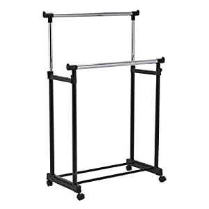 tangkula double rail garment rack heavy duty. Black Bedroom Furniture Sets. Home Design Ideas