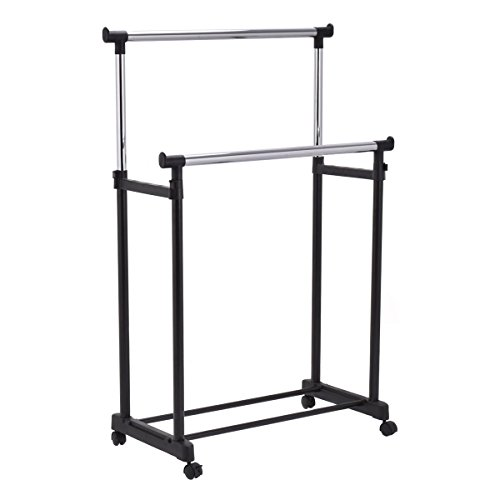 Double Level (Tangkula Double Rail Garment Rack Heavy Duty Height Adjustable Clothes Rack Portable)