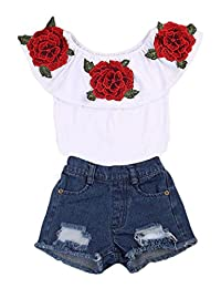 Toddler Kids Baby Girls Floral Flower Ruffle Tops + Hole Denim Shorts Outfits Clothes