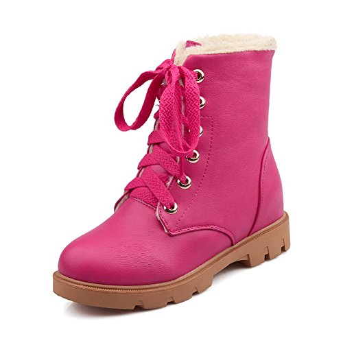 Women's Toe Closed Lace top Solid Low Boots Allhqfashion Heels Rosered up Low Round Ag8wFqxd