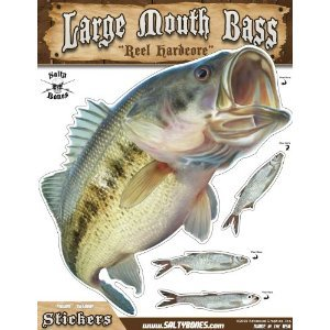 (Salty Bones Large Mouth Bass Action Decal - 13.5