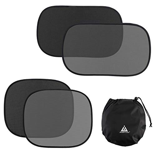 JOJOY LUX 4 Pack Car SunShades for Baby, Auto Sun Shiled Blocking UV Ray,80 GSM for Maximum UV/Sun/Glare Protection,2 Pack 20