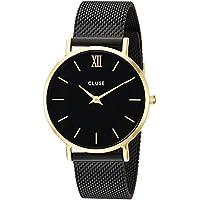 CLUSE Minuit Mesh Gold Black Black CL30026 Women's Watch 33mm Stainless Steel Strap Minimalistic Design Casual Dress Japanese Quartz Elegant Timepiece