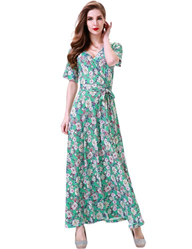 - Aphratti Women's Bohemian Short Sleeve V Neck Long Beach Wrap Maxi Dress Small Ligth Green/Floral