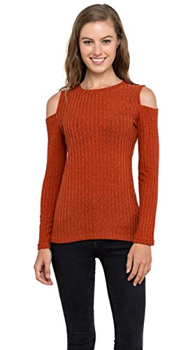 Womens Cold Shoulder Knitted Top - Long Sleeve Pullover Sweater, Velucci (Rust S)