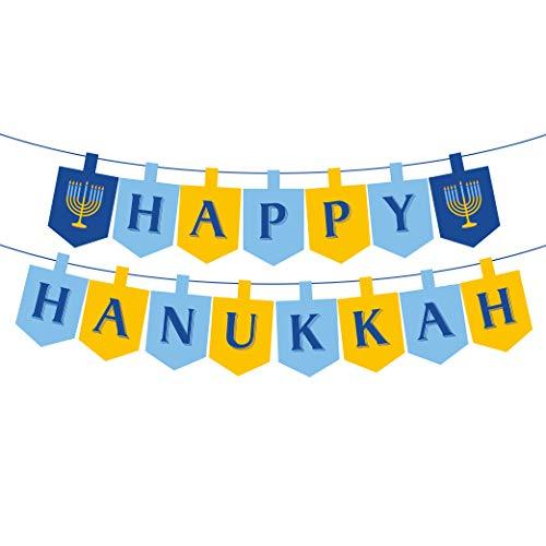 Happy Hanukkah Banner (LJCL Hanukkah Party Supplies,Happy Hanukkah Banner,Chanukah Bunting Garland Banner for Hanukkah Party,Judaism Wedding, Candelabra Party)
