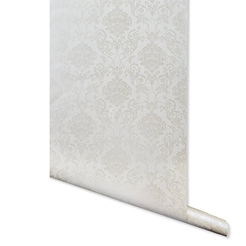 - Metallic Imprint, Off White Damask Wallpaper for Walls - Double Roll - by Romosa Wallcoverings BB7302