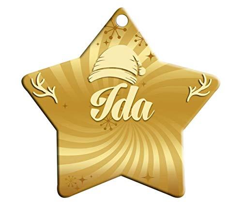 Makoroni - IDA Female Name Christmas Ornament (Star Shape) - Star Holiday Christmas Baby Shower Wedding Ornament -