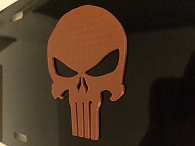 Punisher Skull in 3D - Black with Orange Copper Color - Automotive License Frame Insert - Skeleton Skull
