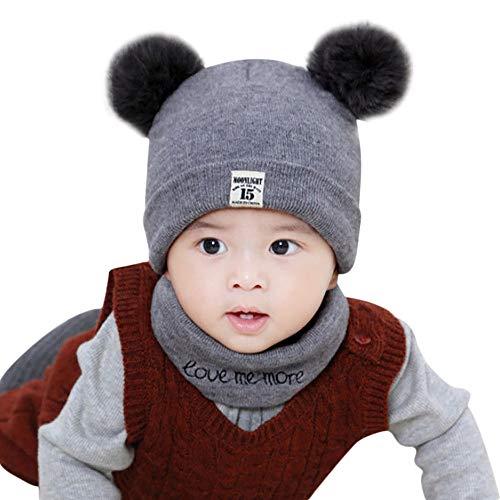 - Jarsh Newborn Kids Baby Boy Girl Pom Hat Winter Warm Knit Crochet Beanie Cap Scarf Set