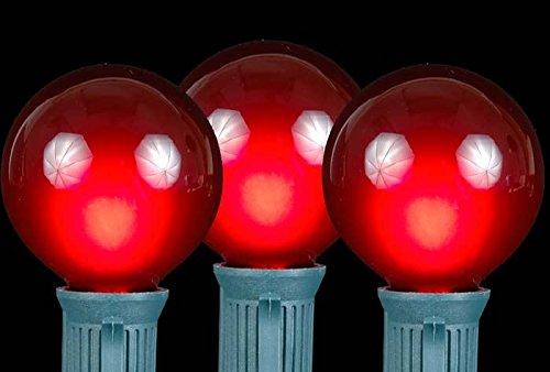 Novelty Lights 25 Pack G50 Outdoor String Light Globe Replacement Bulbs, Red, E17/C9 Base, 7 Watt - Base Red Bulb