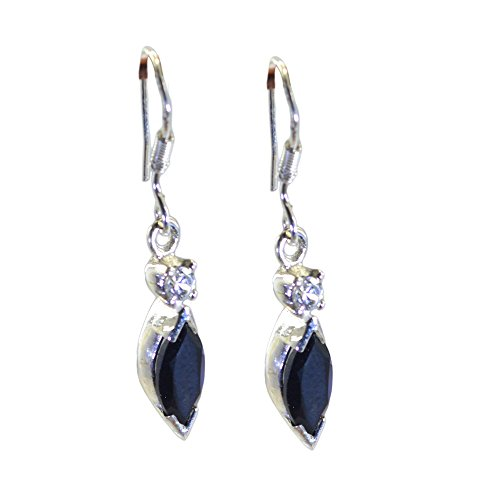 Gemsonclick Natural Black Onyx Drop Earrings For Women Sterling Silver Marquise Shape Jewelry Long Hook