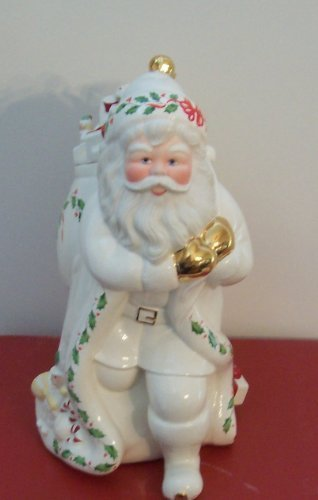 Lenox China Holiday Santa Skating Cookie Jar New in Box By Lenox China - Lenox Skating