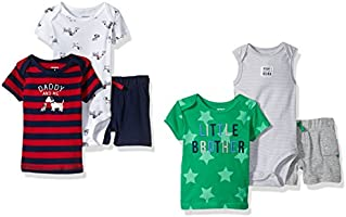 Carter's Baby Boys' 6-Piece Bodysuit Tee and Short Set,  Puppy/Little Brother