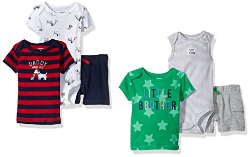 Carter's Baby Boys' 6-Piece Bodysuit Tee and Short Set, Puppy/Little Brother, 6 Months