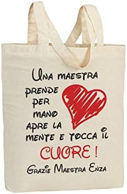Idea Regalo fine Anno scolatisco bubbleshirt Shopping Bag in Cotone Maestra Personalizzabile con Nome della maestra Sei la maestra Migliore del Mondo