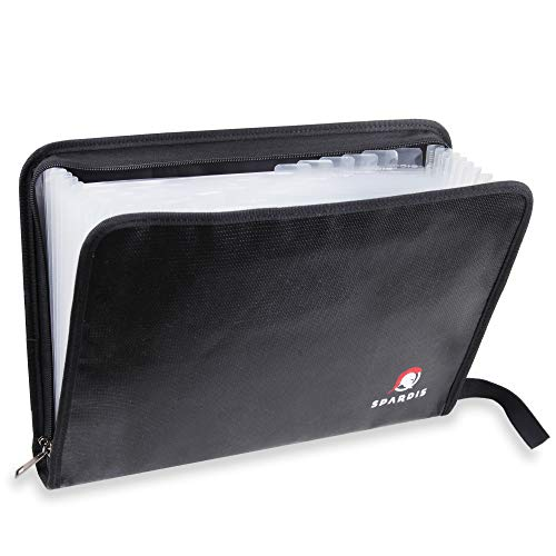 "Pocket File Folder (14.3""x9.85""x1.8"") Fireproof Document Bag Dual Layer Fire Resistant w/Heavy-Duty Dual Zippers, Handle, Heat-Proof Aluminum & No-Itch Silicone Coated Fiberglass ()"