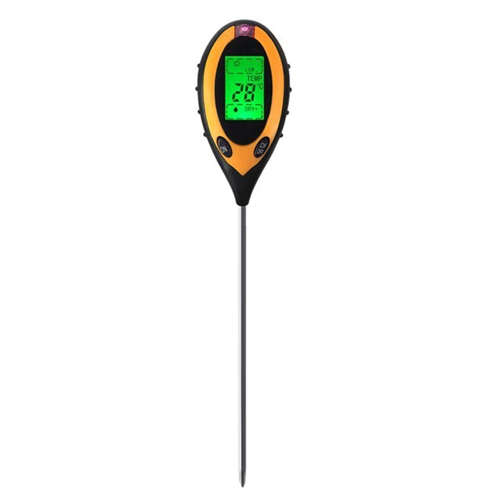 4 IN 1 Electronic PH Soil Tester, Moisture Meter PH Levels Temperature Sunlight Lux Intensity Survey Instrument With LCD Display For Indoor Outdoor Garden Farm Lawn Plants Grain Flowers Grass Care
