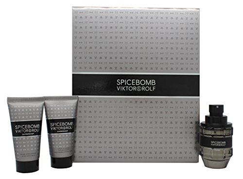 (Viktor and Rolf Spicebomb for Men - 3 Piece Gift Set 1.7oz Eau de Toilette Spray, 1.7oz Non Foaming Shaving Cream, 1.7oz After Shave Balm, 3 Count)