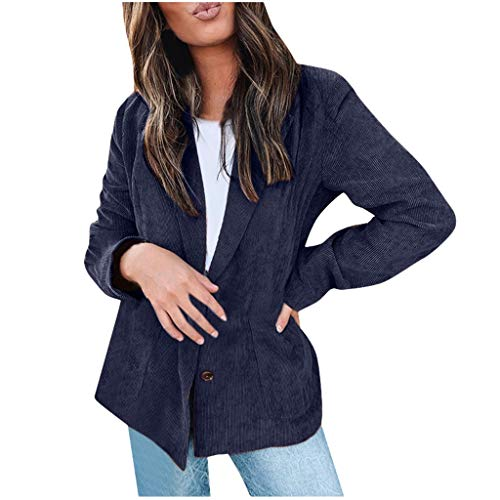TUSANG Women Outwear Fashion Long Sleeve Tunic Blouse Open Front Pocket Cardigan Suit Jacket Coat Top(Blue,US-6/CN-M) (Difference Between Faux Leather And Bonded Leather)
