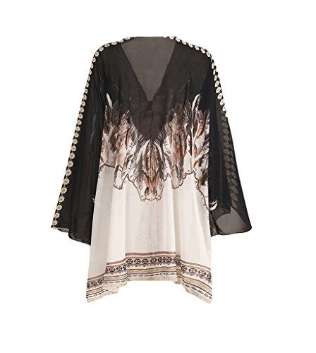 Boh Cover Taille Chiffon Femme COMVIP Blouse en Style Up Grande Manteau qwC5OvP