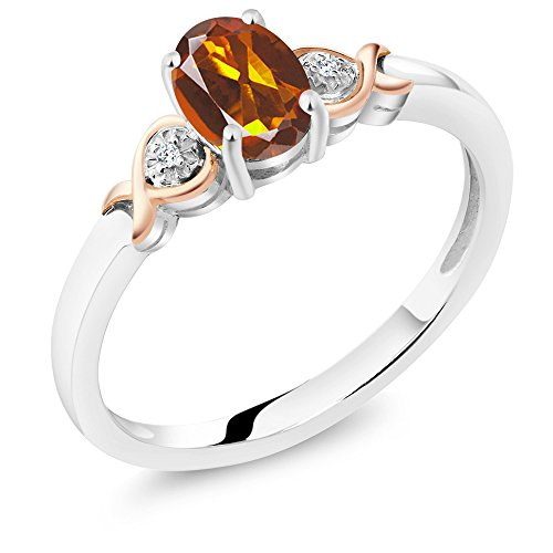 Oval Citrine Diamond Accent Ring - Gem Stone King 925 Sterling Silver and 10K Rose Gold Ring Orange Red Madeira Citrine with Diamond Accent 0.70 cttw (Size 6)