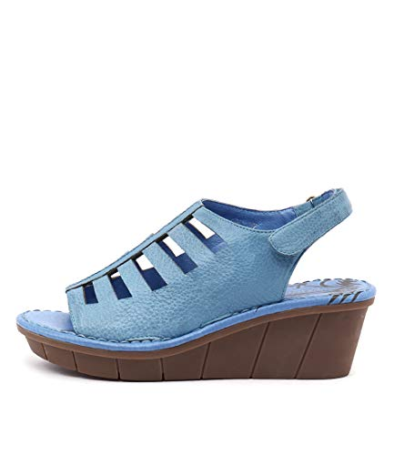 GAMINS OPI Ice Womens Shoes Medium Heels Summer Wedges Blue Leather