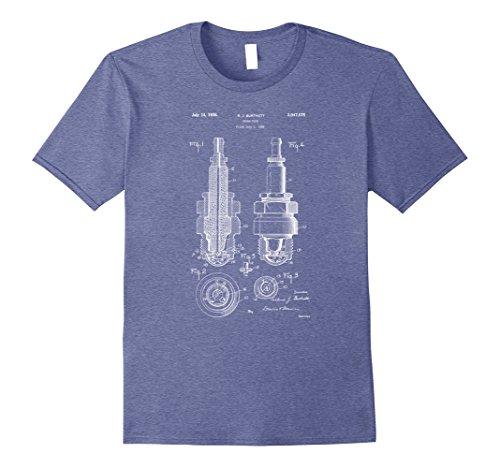 Mens Vintage Patent Print 1900 Engine Spark Plug T-Shirt XL Heather Blue -
