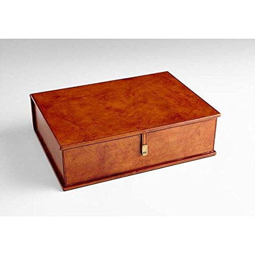 Zinc Decor Tan Wood & Leather Jewelry Box Keepsake Storage Letter Chest