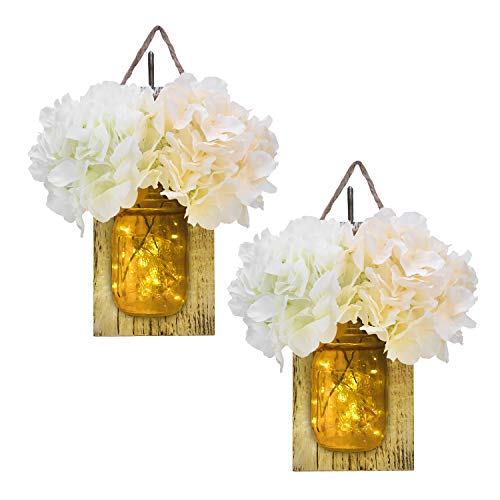 Jar Decor (KINDEN Mason Jar Sconce - LED Timer Fairy Lights, Rustic Wooden Board with Bronze Retro Hooks, Glass Mason Jars, Hemp Ropes, 2 White & 2 Champagne Flowers, Hanging Wall Decor Crafts, Set of 2)