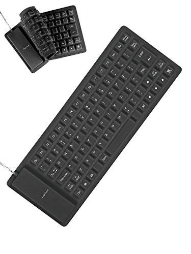 Englische Silikon Tastatur biegbar Technik Gadget anthrazit 34,5x12,5cm
