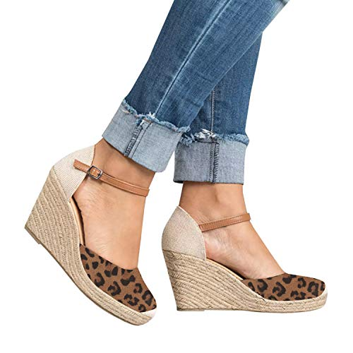 FISACE Womens Leopard Summer Espadrille Heel Platform Wedge Sandals Ankle Buckle Strap Closed Toe Shoes