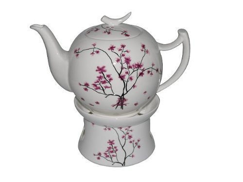 Teekanne 1, 5L + Stövchen Bone China Cherry Blossom TeaLogic
