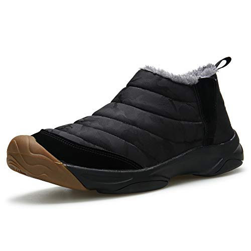Winter Booties Shoes Low Mgreater Waterproof Boots Slip Top Snow Men's Fur Lined Lightweight Black Non xwAvawq