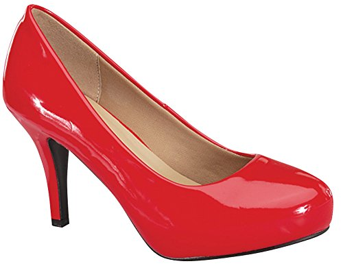 Cambridge Select Women's Classic Round Toe Mid Heel Dress Pump (9 B(M) US, Red Patent) by Cambridge Select (Image #2)